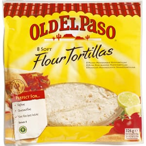 OLD EL PASO TORTILLAS SUPERSOFT 8PK 326G