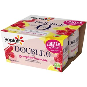 YOPLAIT DOBBEL 0% BRINGEBÆR LIMONADE 4X125G