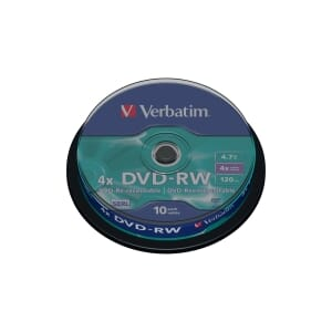 BX10 VERBATIM DVD-RW 4.7GB 1-4X SPINDLE