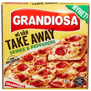 PIZZA GRANDIOSA TAKE AWAY SKINKE PEPPERONI 620G.